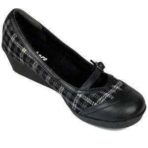 Skechers Mary Jane Wedge Shoes Plaid w/Leather